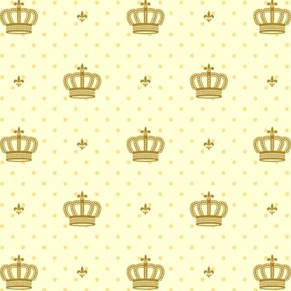 Tricoline Estampado Coroas Dourada S1123-3 TECIDO TRICOLINE ESTAMPADO