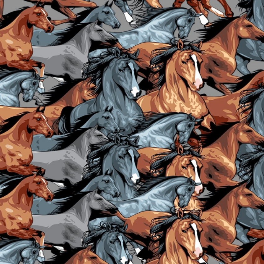 Tricoline Digital Cavalos P9013-02 TECIDO TRICOLINE ESTAMPADO