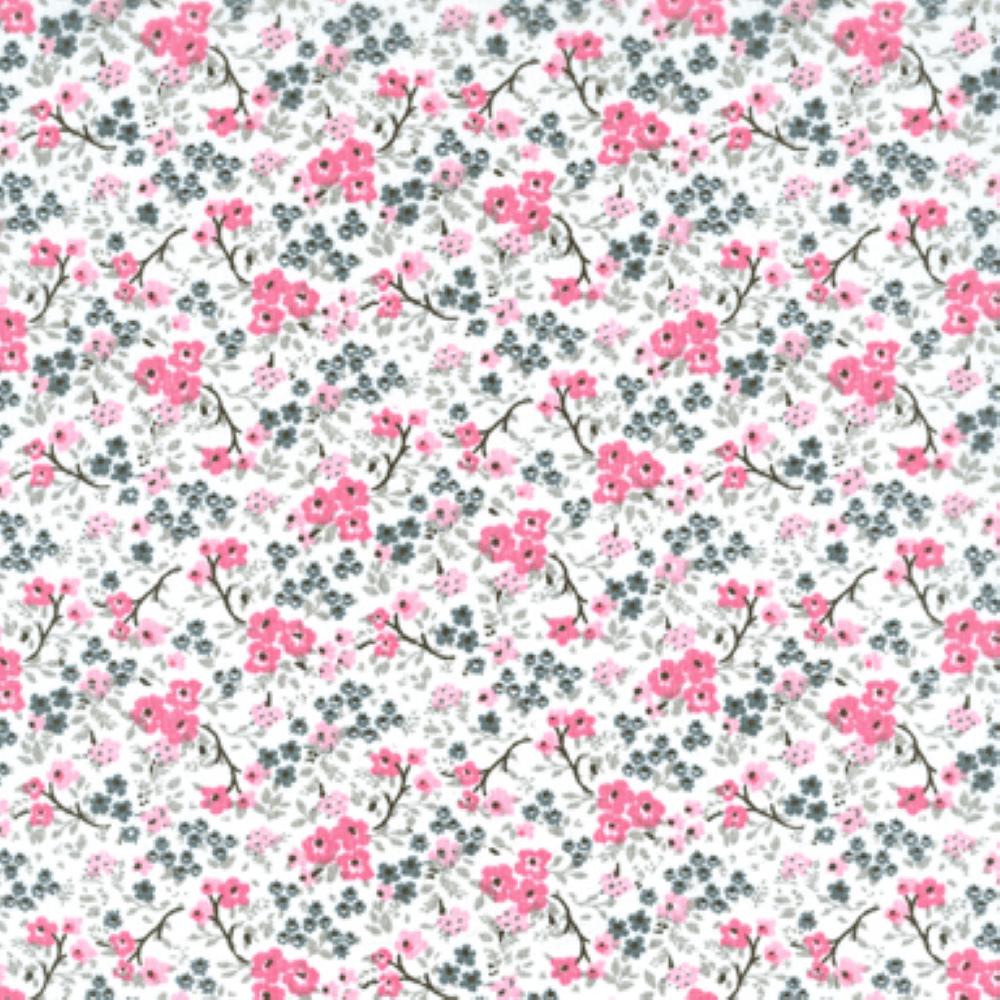 Tricoline Estampado Floral Cassis S176-03 TECIDO TRICOLINE ESTAMPADO
