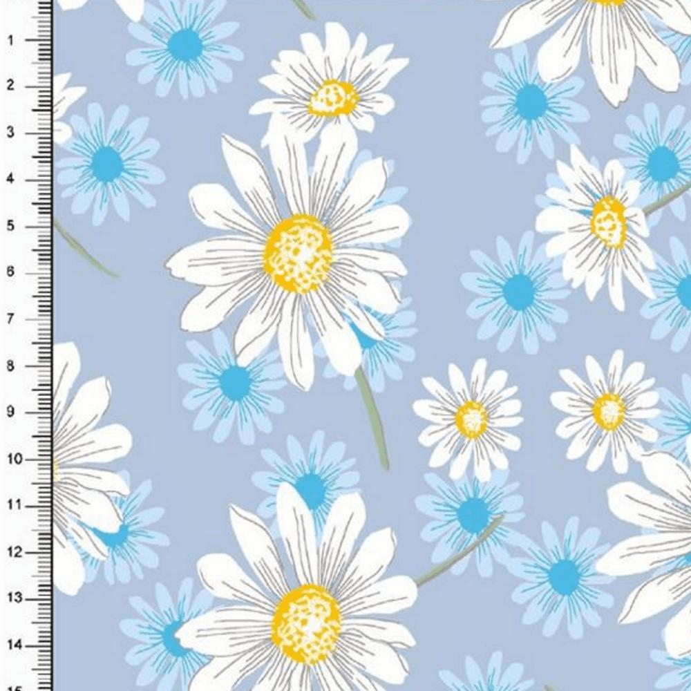 Tricoline Estampado Floral Margaridas DX6481-01 TRICOLINE ESTAMPADO