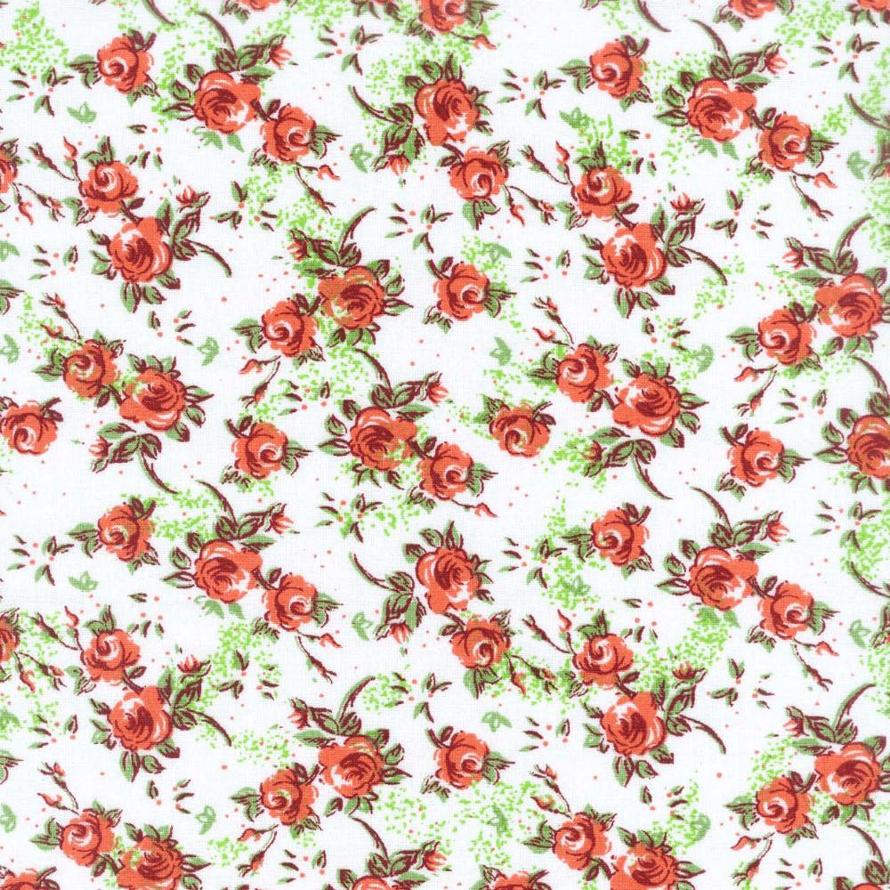Tricoline Estampado Floral Mogiana S18097-03 TECIDO TRICOLINE ESTAMPADO