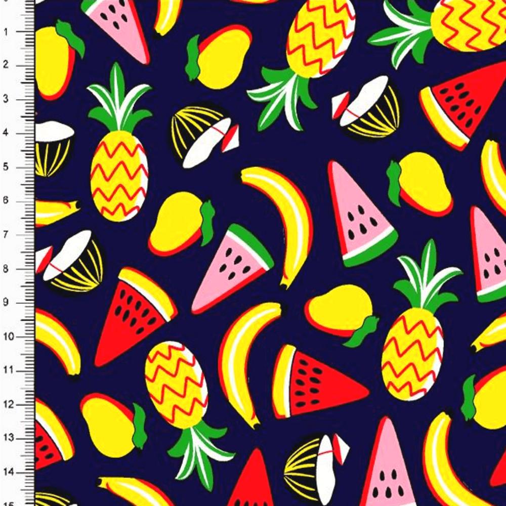 Tecido Tricoline Frutas DX6359 - Abacaxi, Banana, Melancia e Morango