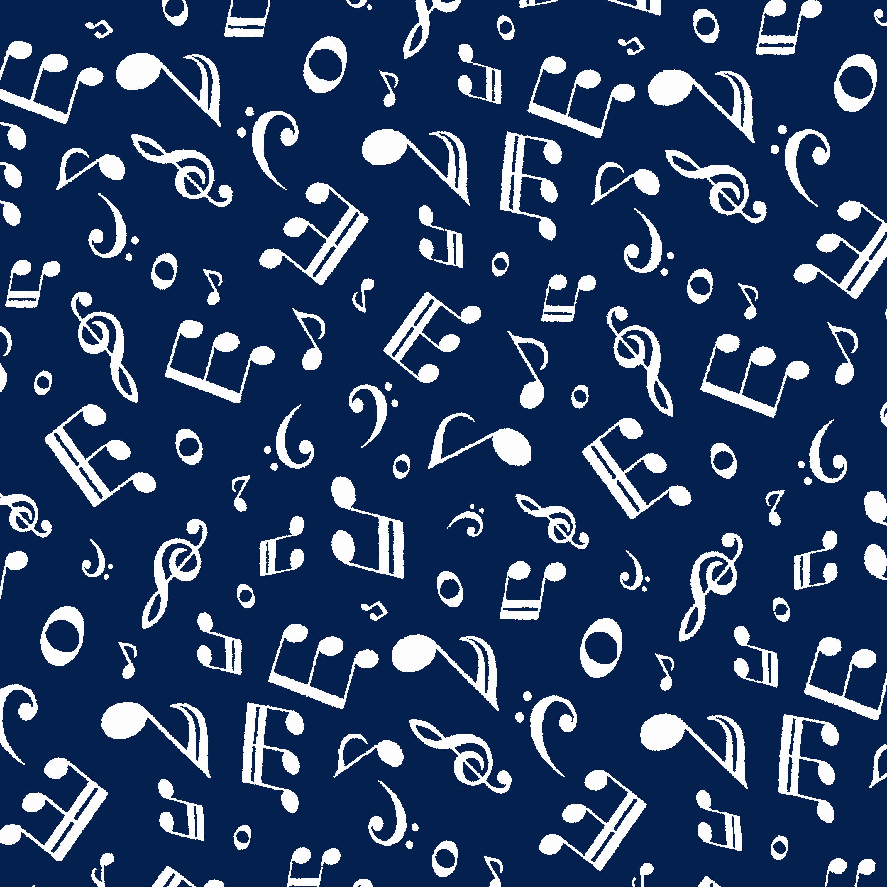 Tricoline Notas Musicais DX1596-3 Azul TRICOLINE ESTAMPADO