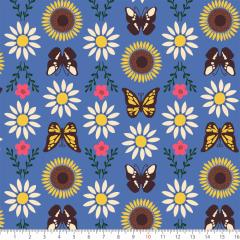 Tecido Tricoline Estampado Flores Borboletas P7130-03