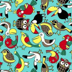 Tricoline Estampada Pássaros DX6279-01