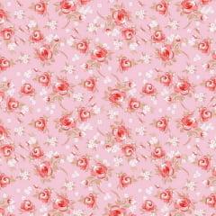 Tricoline Estampado Floral Miosotis S143-2 Rosa