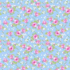 Tricoline Estampado Floral Miosotis S143-3A Capri