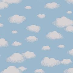 Tricoline Estampado Nuvem Azul S1600-1 TRICOLINE ESTAMPADO