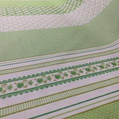 Tricoline Estampado Barrado Medley Verde S1622-2 TECIDO TRICOLINE ESTAMPADO