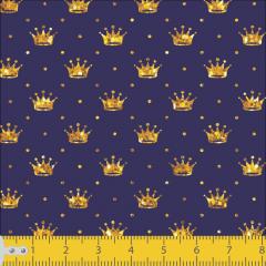 Tricoline Mini Coroas Azul Com Dourado P1143-07